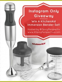 Instagram Only Giveaway from ASpicyPerspective.com - Win a KitchenAid Immersion Blender Set on #Instagram! #giveaway #contest #cooking