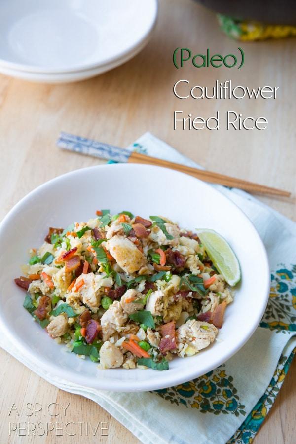 Paleo Cauliflower Fried Rice #Paleo #GrainFree #Healthy