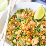 Cauliflower Fried Rice Recipe #ASpicyPerspective #cauliflower #chicken #paleo #keto #lowcarb