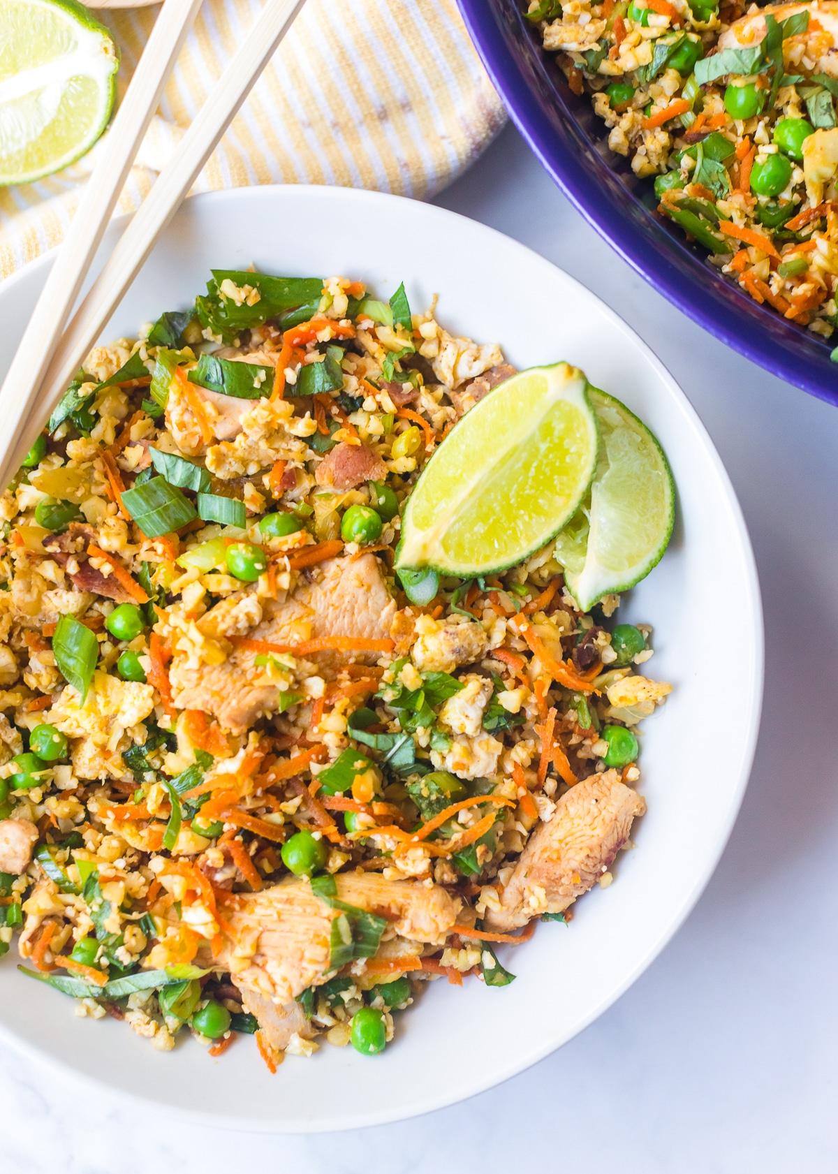 Paleo Cauliflower Chicken Fried Rice Recipe #ASpicyPerspective #cauliflower #chicken #paleo #keto #lowcarb