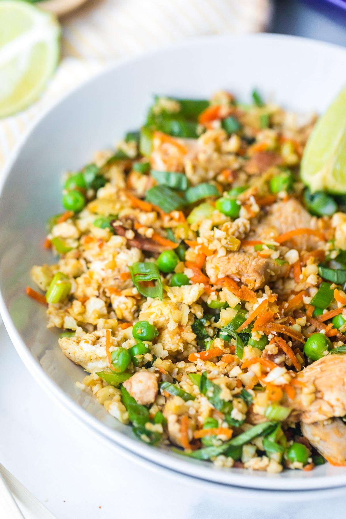 Cauliflower Chicken Fried Rice Recipe #ASpicyPerspective #cauliflower #chicken #paleo #keto #lowcarb