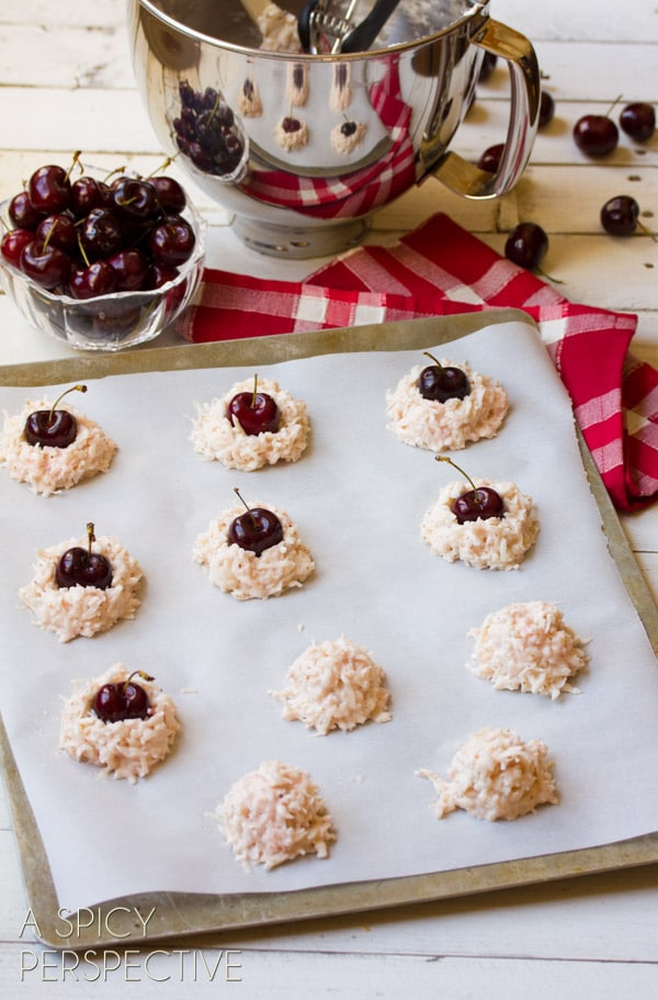 Making Coconut Macaroons - With a Fresh Cherry Center! #valentinesday #macaroons #cookies #cherry #coconut