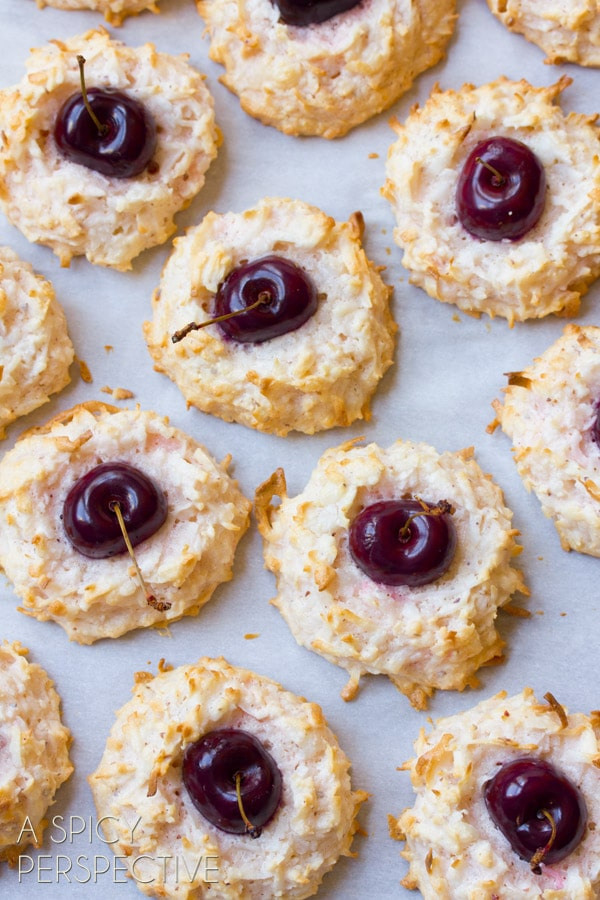 Coconut Macaroon Recipe - With a Fresh Cherry Center! #valentinesday #macaroons #cookies #cherry #coconut