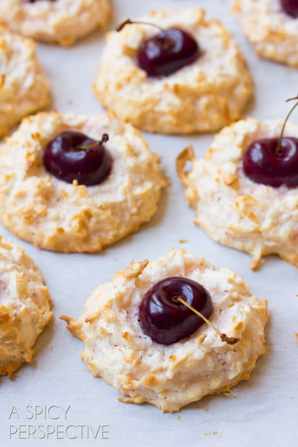 Cherry Kissed Coconut Macaroons - A Spicy Perspective