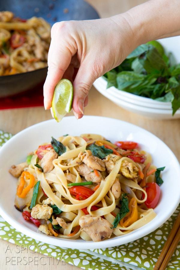 Thai Drunken Noodles - Pad Kee Mao #Thai #Recipe #Noodles #Wok