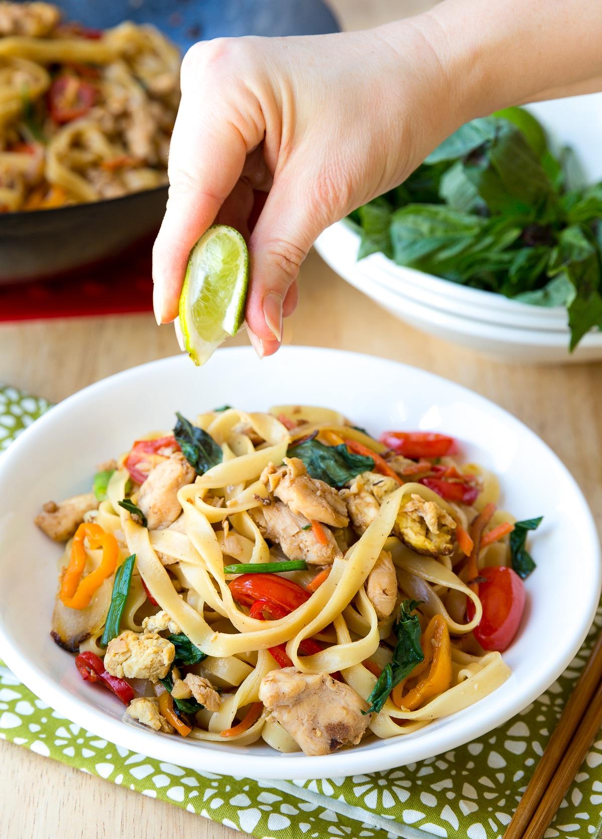 Thai Pad Kee Mao Recipe (Drunken Noodles) #ASpicyPerspective #Thai #Recipe #Noodles #Wok