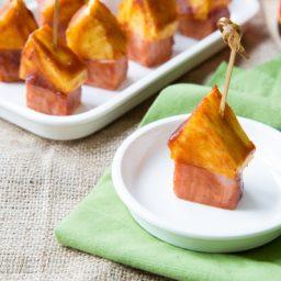 BBQ Sauce Glazed - Pineapple Ham Party Picks!