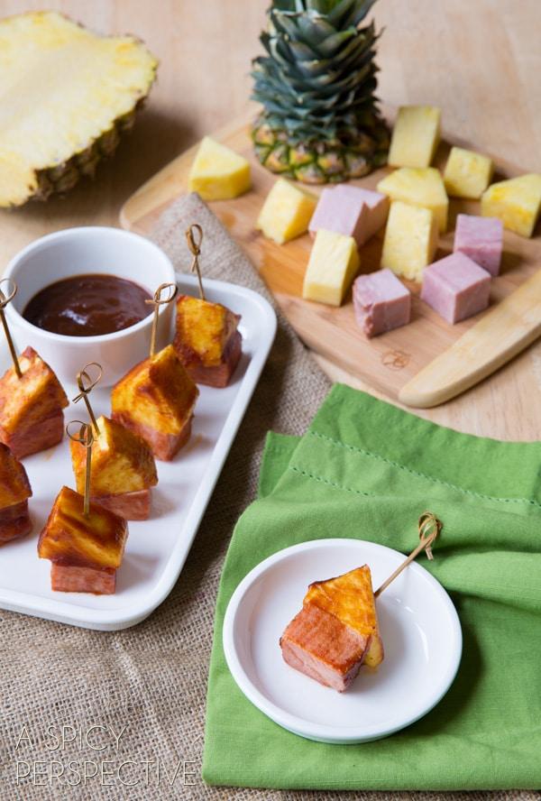 BBQ Glazed - Pineapple Ham Party Picks! #SuperBowl #GameDay #KidFriendly #snacks