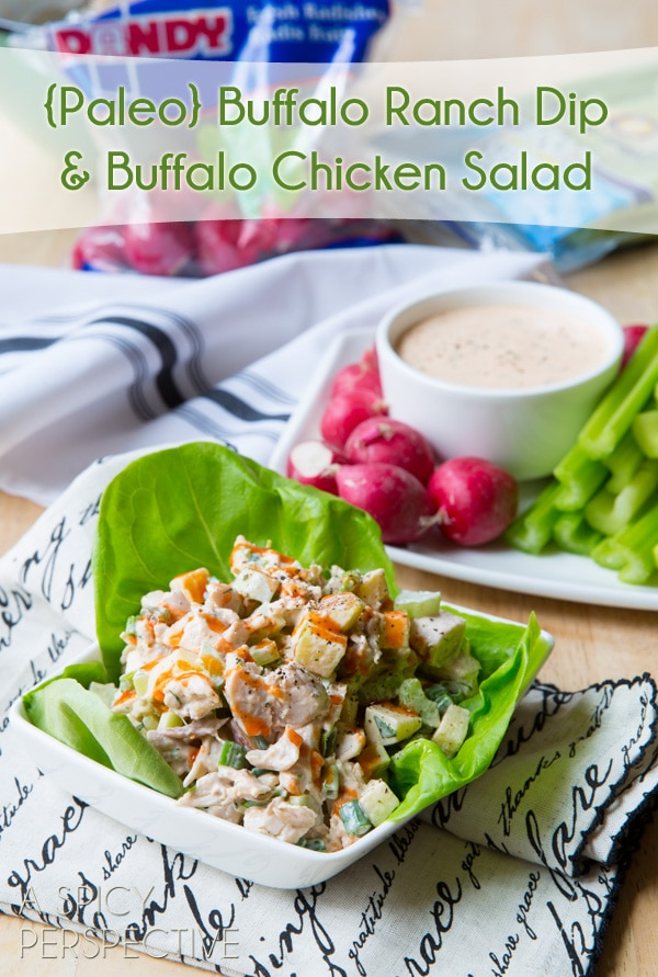 {Paleo} Ranch Dressing and Buffalo Chicken Salad #paleo #grainfree #glutenfree #dairyfree