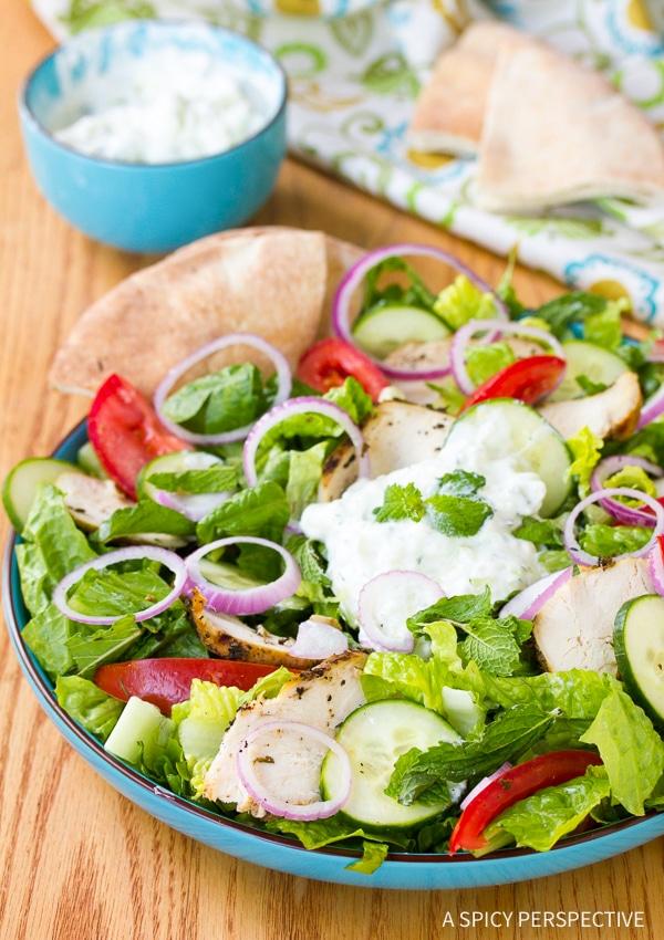 Best Chicken Gyro Salad with Creamy Tzatziki Recipe