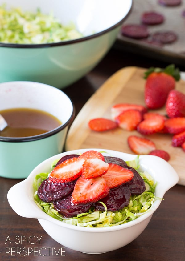 Fresh Strawberry Beet Salad with Shaved Brussels Sprouts and Pom Balsamic Vinaigrette #salad #beets #brusselssprouts