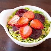 Strawberry Beet Salad with Shaved Brussels Sprouts and Pom Balsamic Vinaigrette