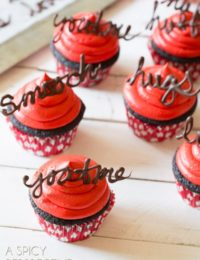 Brilliant Dark Chocolate Cupcake Recipe with Red Velvet Frosting #valentinesday #valentine #cupcakes #chocolate #freeprintables