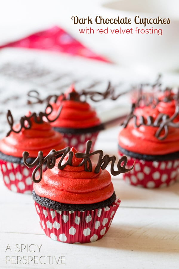 Dark Chocolate Cupcake Recipe with Red Velvet Frosting #valentinesday #valentine #cupcakes #chocolate #freeprintables