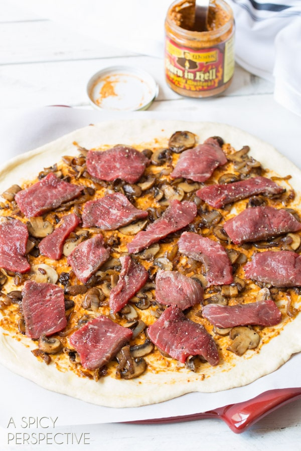 Awesome Homemade Pizza with New York Strip, Spicy Mustard, and Mushrooms! #pizza #steak #mushrooms #recipe