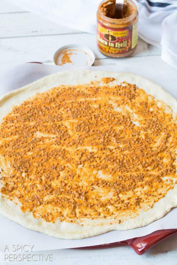 Making Homemade Pizza with New York Strip, Spicy Mustard, and Mushrooms! #pizza #steak #mushrooms #recipe
