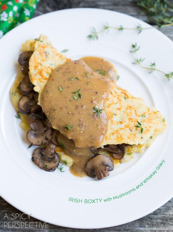 Boxty: Irish Potato Pancakes with Sauteed Mushrooms and Whiskey Gravy ...