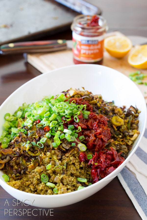 Scallions and Red Peppers #ASpicyPerspective #Salad #Lentils #Quinoa #LentilSalad #LentilSaladRecipe #QuinoaSalad #QuinoaSaladRecipe #BrusselSprouts #RedPeppers #SideDish #Healthy