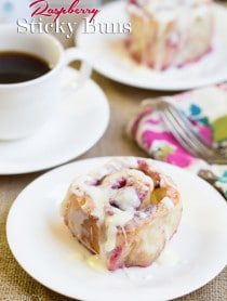 Raspberry Sticky Buns - An easy #stickybuns #recipe that is perfect for #spring!