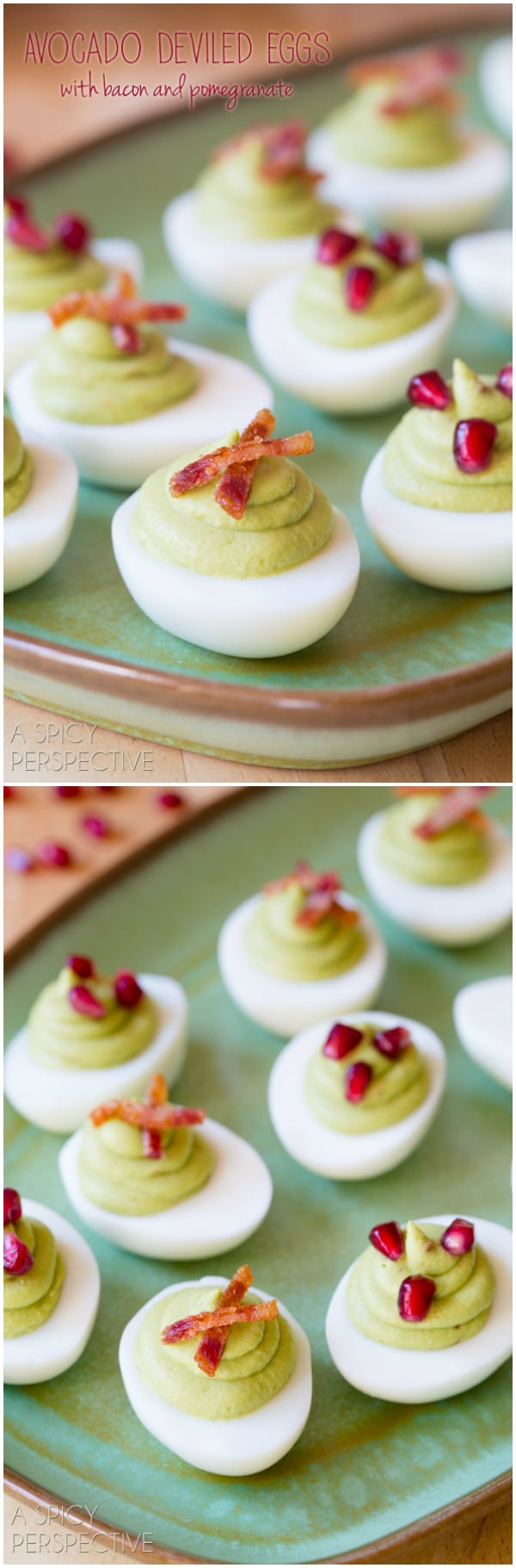 Avocado Deviled Eggs with Bacon and Pomegranate Recipe