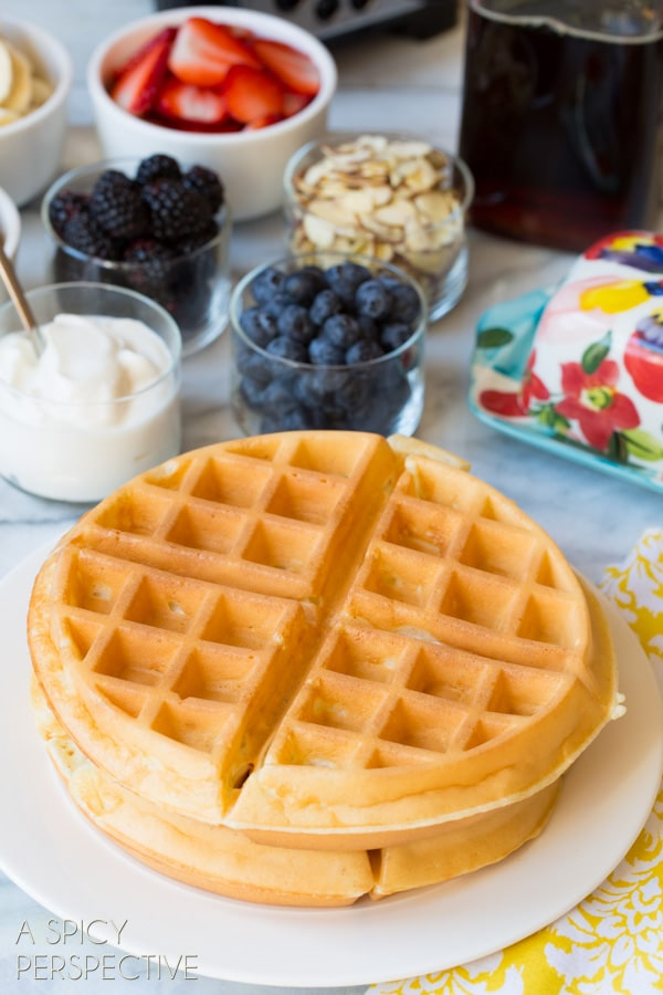 The Best Waffle Recipe Ever - Yogurt Vanilla Bean Waffles #breakfast #waffles #giveaway