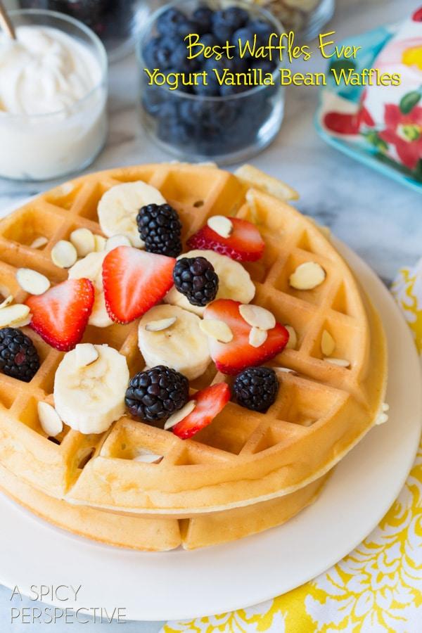 Best Waffle Recipe - Yogurt Vanilla Bean Waffles #breakfast #waffles #giveaway