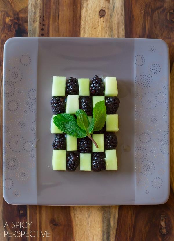 Easy Blackberry Honeydew Salad with Honey Lime Syrup #spring #salad #fruitsalad