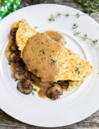 Boxty: Irish Potato Pancakes with Sauteed Mushrooms and Whiskey Gravy #stpaddyday #stpatricksday #irish #recipe
