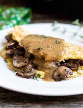 Best Irish Boxty Recipe: Irish Potato Pancakes with Sauteed Mushrooms and Whiskey Gravy #stpaddyday #stpatricksday #irish #recipe