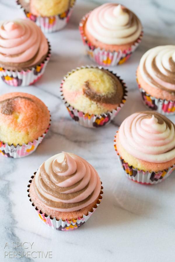 Pretty Neapolitan Cupcakes! #spring #cupcakes #easter #neapolitan #cake