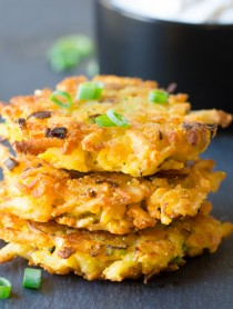 Potato Latkes with Jalapeño Dill Sauce