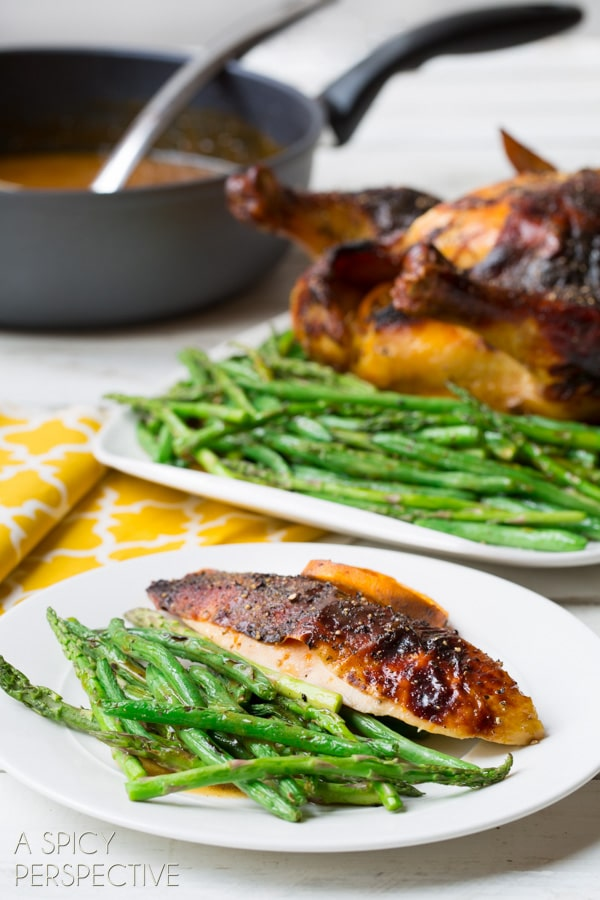 Easy Roasted Chicken Recipe with Honey Orange Gravy and Grilled Spring Veggies #dinner #chicken #recipe #giveaway