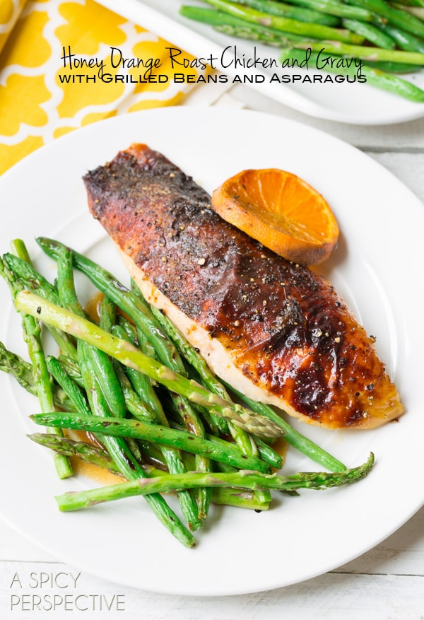 Simple Roasted Chicken Recipe with Honey Orange Gravy and Grilled Spring Veggies #dinner #chicken #recipe #giveaway