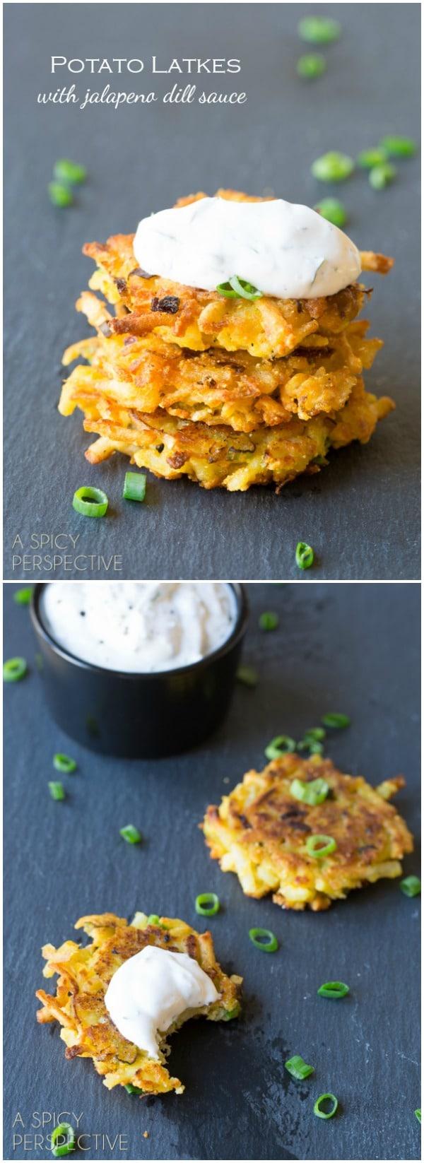 Warm Potato Latkes with Jalapeño Dill Sauce Recipe