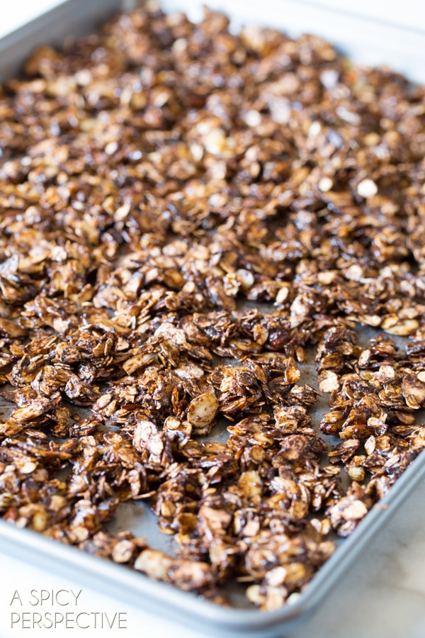 Easy Almond Joy Homemade Granola Recipe on ASpicyPerspective.com #recipe #granola #almondjoy #chocolate