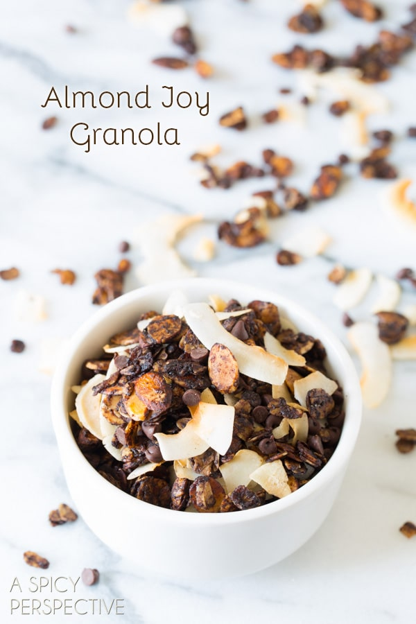 Almond Joy Homemade Granola Recipe on ASpicyPerspective.com #recipe #granola #almondjoy #chocolate