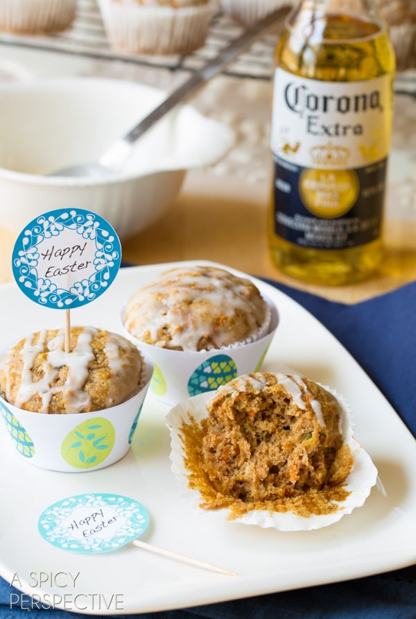Spring Carrot Muffins with Pineapple Ginger and Beer Glaze! #easter #muffins #breakfast #carrot #beer #spring