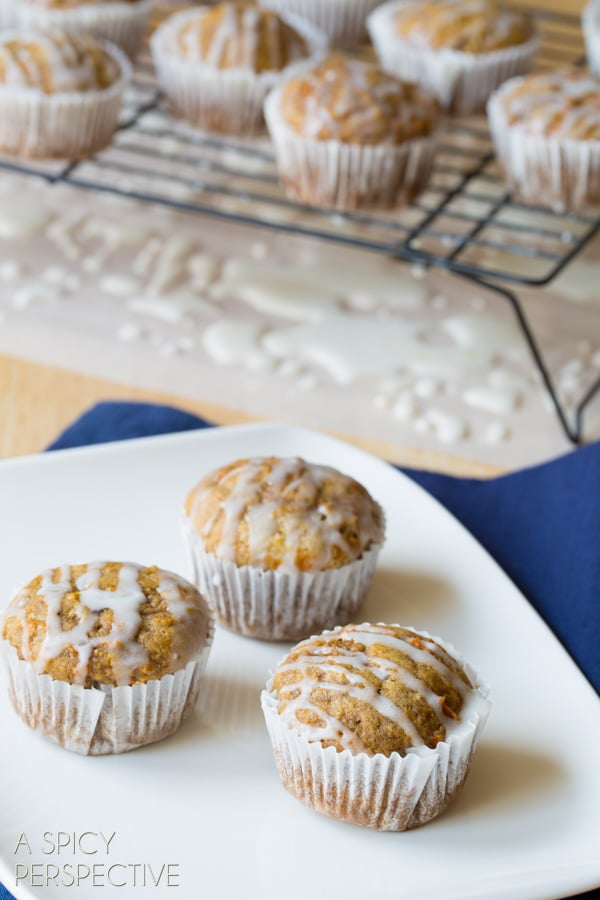 Amazing Carrot Muffins with Pineapple Ginger and Beer Glaze! #easter #muffins #breakfast #carrot #beer #spring