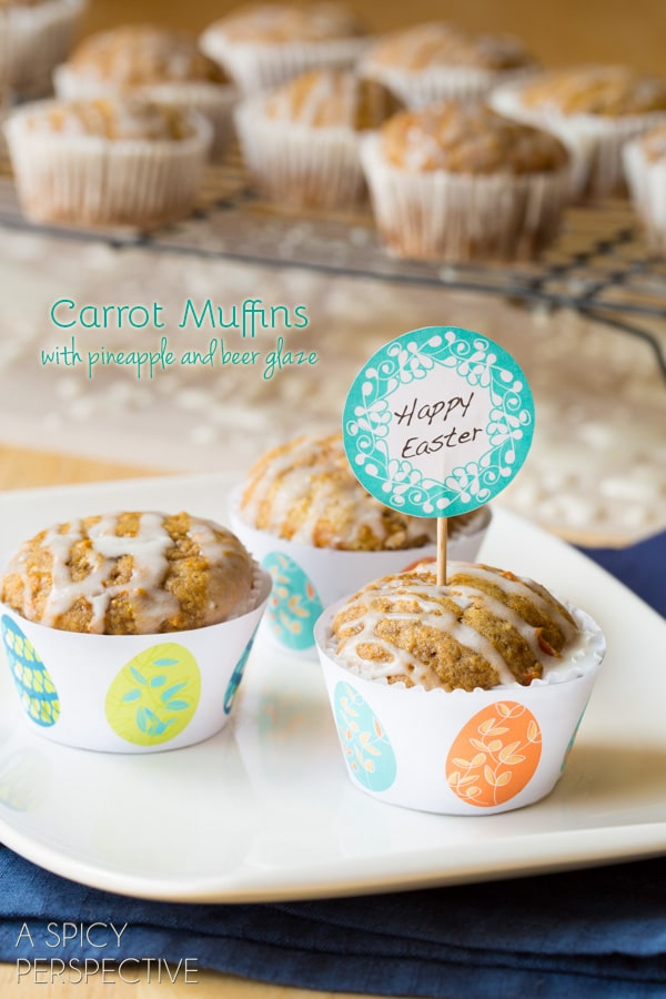 Tender Carrot Muffins with Pineapple Ginger and Beer Glaze! #easter #muffins #breakfast #carrot #beer