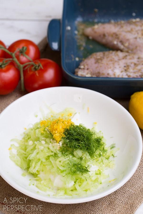 Making - Chicken Gyro Salad (or Wraps) with Creamy Tzatziki Sauce! #gyro #salad #tzatzikisauce