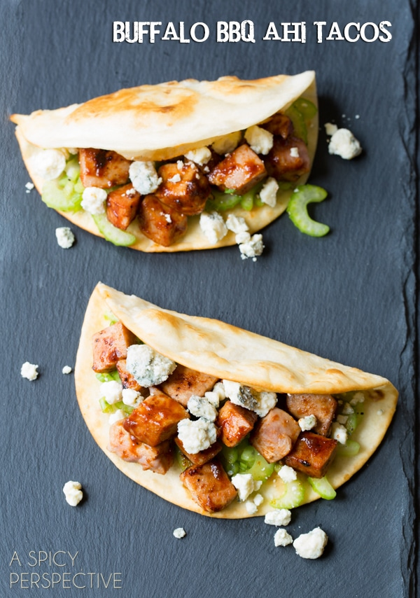 Buffalo BBQ Ahi Tuna Fish Tacos Recipe on ASpicyPerspective.com #fishtacos #ahituna #recipe #buffalo #cincodemayo