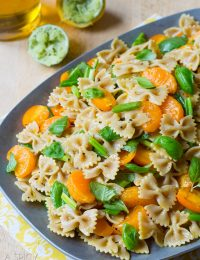 Italian Pasta Salad with sweet oranges, basil and golden tomatoes! #pasta #pastasalad #summer #italian