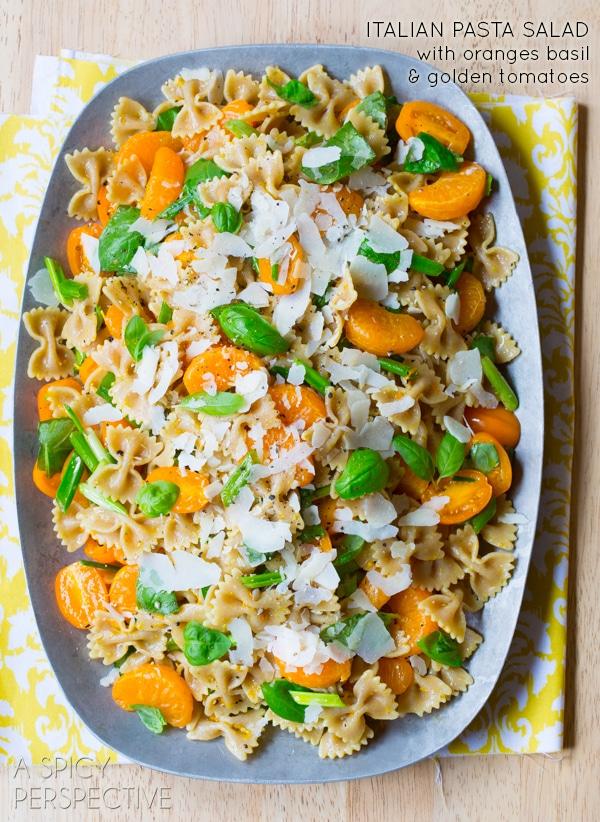 Summer Italian Pasta Salad with sweet oranges, basil and golden tomatoes! #pasta #pastasalad #summer #italian