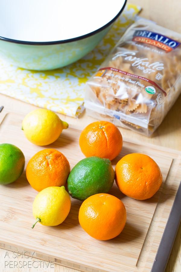 Making Summer Italian Pasta Salad with sweet oranges, basil and golden tomatoes! #pasta #pastasalad #summer #italian