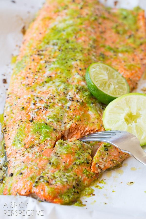 Oven Baked Salmon #ASpicyPerspective #Salmon #BakedSalmon #OvenBakedSalmon #SalmonInTheOven #HowLongtoBakeSalmon #Garlic #Lime #Jalapeno #SpicySalmon #Dinner #Fish