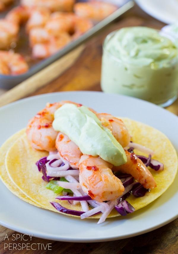 Easy Sweet Chile Shrimp Tacos with Jicama Slaw and Avocado Cream! #thai #tacos #spring #summer