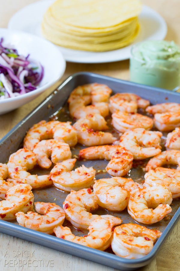 Sweet Chile Shrimp with Jicama Slaw and Avocado Cream! #thai #tacos #spring #summer
