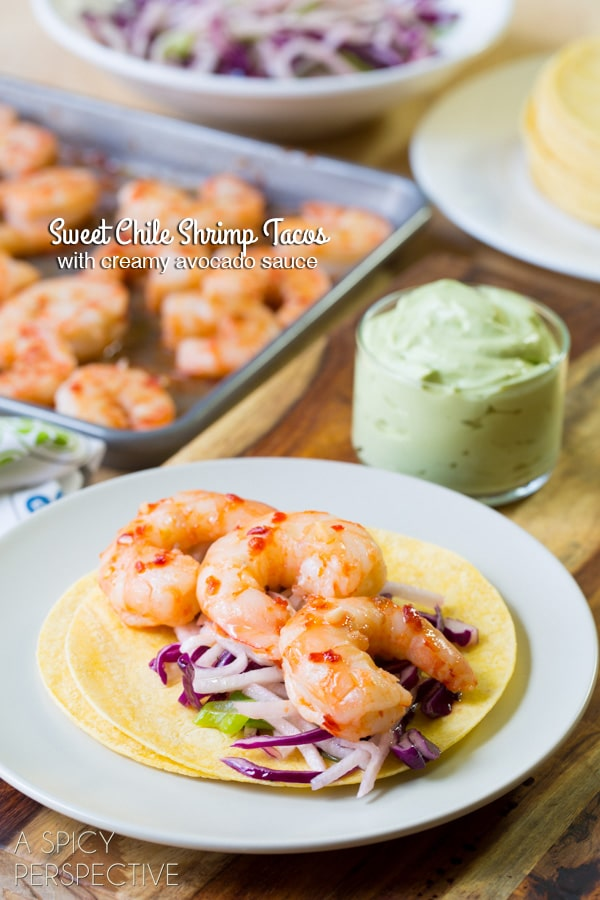 zesty tacos with international appeal. Spicy sweet chile shrimp tacos ...