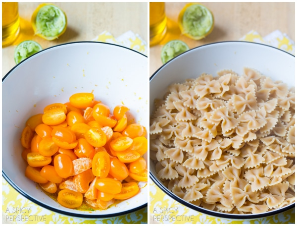 How to Make Summer Italian Pasta Salad with sweet oranges, basil and golden tomatoes! #pasta #pastasalad #summer #italian