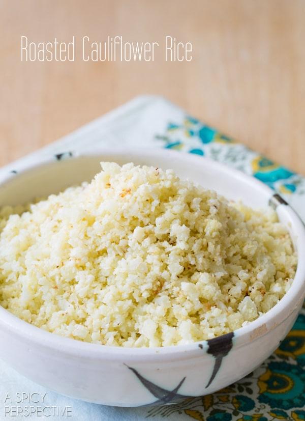 Easy Roasted Cauliflower Rice! #GrainFree #Paleo #GlutenFree #cauliflower